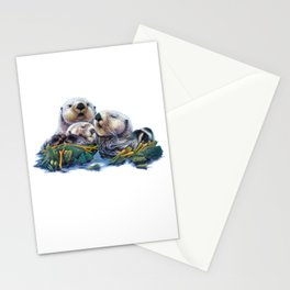 Otter Family Stationery Cards