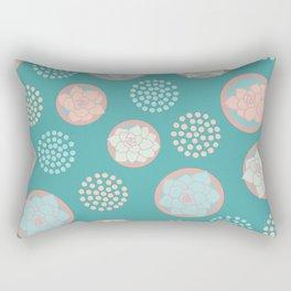 Succulent Pattern #1   Green Background Rectangular Pillow