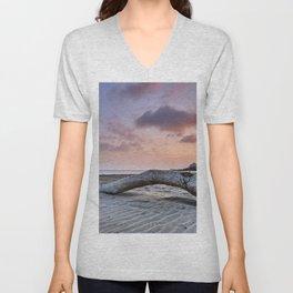 Half Moon Beach. Red sky Unisex V-Neck