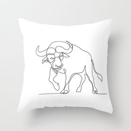 African Buffalo Continuous Line Throw Pillow