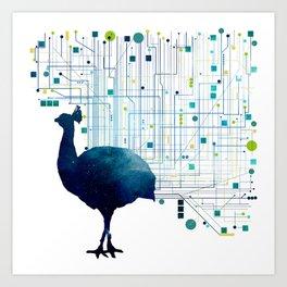 CYBER PEACOCK Art Print