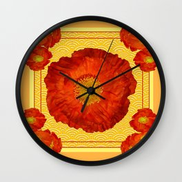 Orangy-Red Oriental Poppy Yellow-Red Pattern Art Wall Clock