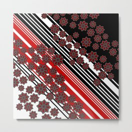 Red black white Abstract geometric pattern Metal Print