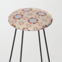 Blue Retro Tile Counter Stool