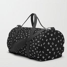 The Missing Letter Alphabet B&W Duffle Bag