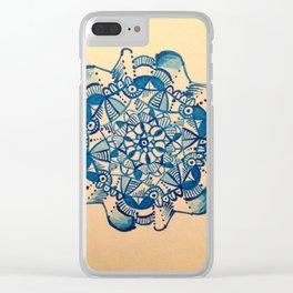 mandala azzuro Clear iPhone Case