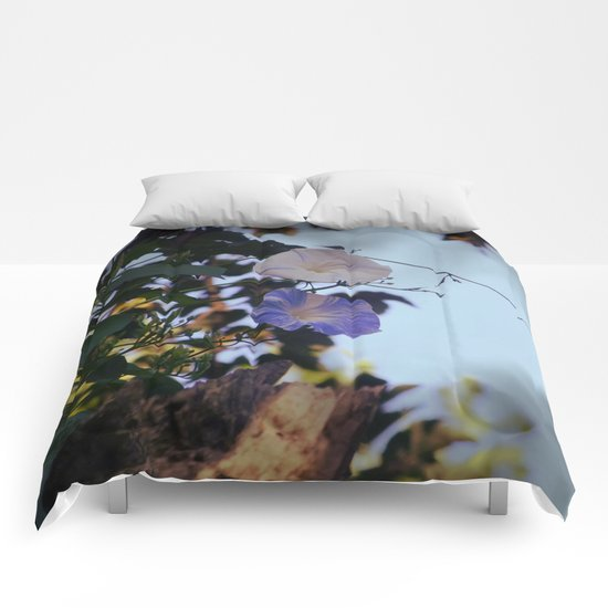Blue And White Striped Morning Glories Comforters