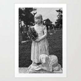 Girl Statue Black & White Art Print