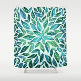 Summertime Blues Leaf Burst Shower Curtain