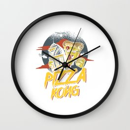 Food Puns Italian Cuisine Foodies Animated Pizza Kong Food Lovers Gift Wall Clock