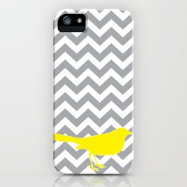 Yellow Bird on Gray Chevron iPhone Case