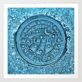 Blue Water Meter New Orleans Sewer Ford Louisiana Art Print