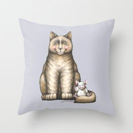 """""""Peace....now we're friend"""" (cat and mouse) Throw Pillow"""