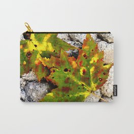 Leaves in Gray Carry-All Pouch