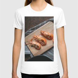 Grilled shrimps on wooden board T-shirt