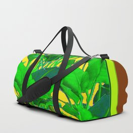 COFFEE BROWN TROPICAL GREEN & GOLD FOLIAGE ART Duffle Bag