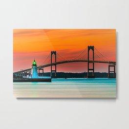 Newport Bridge - Newport, Rhode Island - Conanicut Island Sunset Metal Print