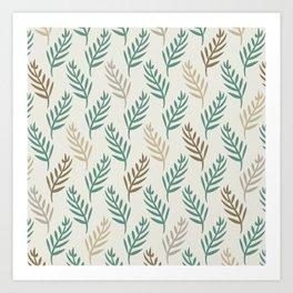Botanical Palm Leaf Nature Pattern in Jade Green Beige Brown Gray Art Print