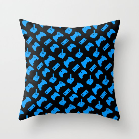 Gamer - Aqua on Black Throw Pillow by C. Wie Design Society6