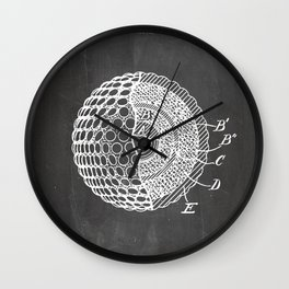 Golf Ball Patent - Golfer Art - Black Chalkboard Wall Clock