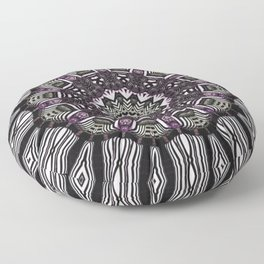 Mandala in black and white with hint of purple and green Floor Pillow
