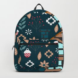 Winter cottage Backpack