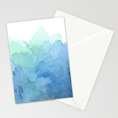 Abstract Watercolor Texture Blue Green Sea Sky Colors Stationery Cards
