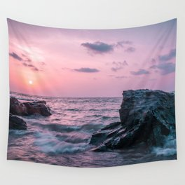 Ocean landscape at sunset Wall Tapestry