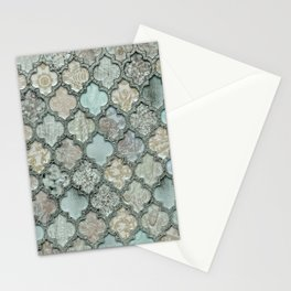 Old Moroccan Tiles Pattern Teal Beige Distressed Style Stationery Cards