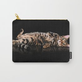 Bengal cat / Kitten on black Carry-All Pouch