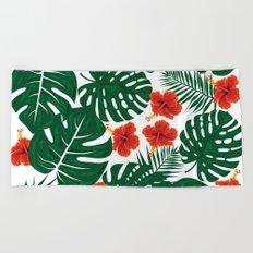 Tropical Leaves Hibiscus Flowers Beach Towel