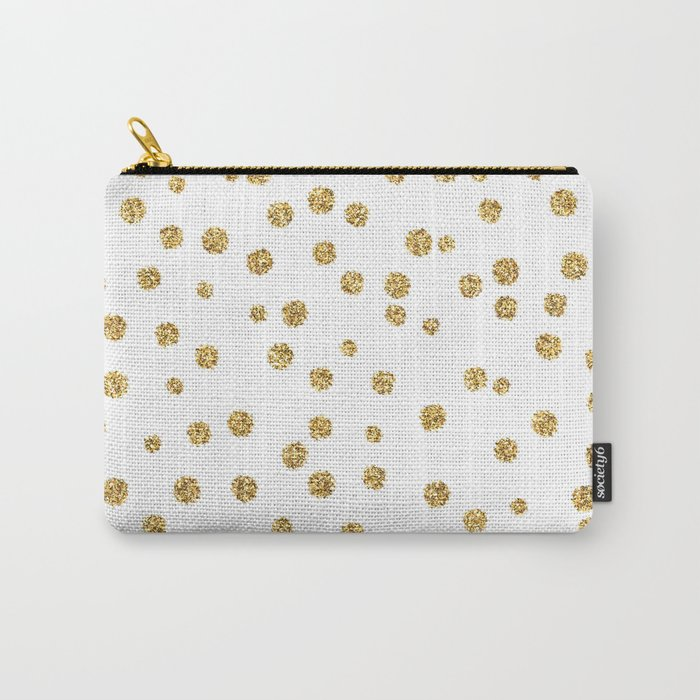 Gold glitter confetti on white - Metal gold dots Carry-All Pouch