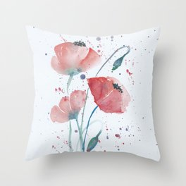 Red poppies in the sun floral watercolor painting Throw Pillow