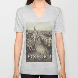 Red buses at Oxford Unisex V-Neck