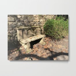 Concrete Bench Metal Print