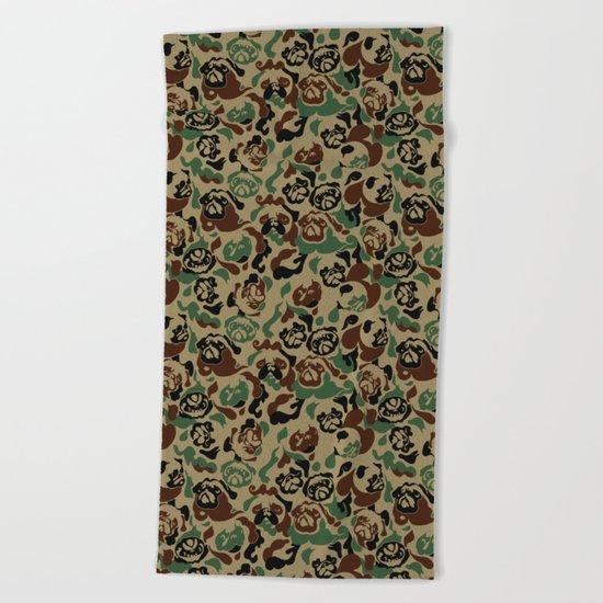 Pug Camouflage Beach Towel