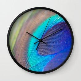 Peacock feather macro Wall Clock