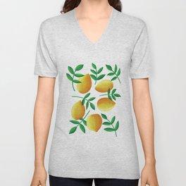 Lemons on Teal Unisex V-Neck