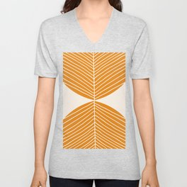 Minimal Fall Leaf Gold Unisex V-Neck