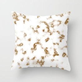 Brown and White Soft Marble Pattern Throw Pillow