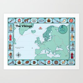 Illustrated map of the Vikings Art Print