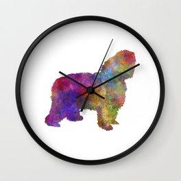 Polish Lowland Sheepdog in watercolor  Wall Clock