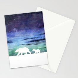 Aurora borealis and polar bears (white version) Stationery Cards