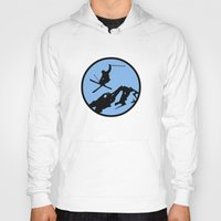 skiing Hoodies featuring skiing 3 by Paul Simms