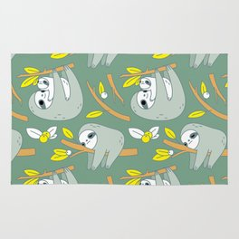 Sloth pattern in green Rug