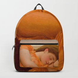 Flaming June Oil Painting by Frederic Lord Leighton Backpack