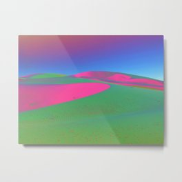 Psychedelic Sand Dunes - Pink Green Blue Metal Print