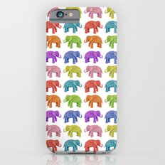 Colorful Parade of Elephants in Red, Orange, Yellow, Green, Blue, Purple and Pink iPhone 6s Slim Case