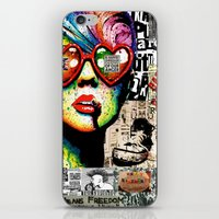 punk rock iPhone & iPod Skins featuring Punk Rock poster by Mira C
