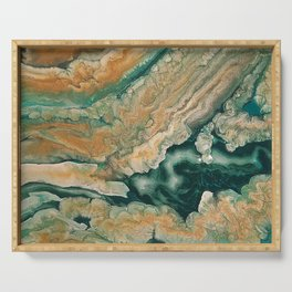 Acrylic pour abstract Emerald coastline Serving Tray
